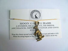 Moon Gazing Hare Handmade Wish Bracelet Wicca Unique Pagan Gift Charm Rabbit