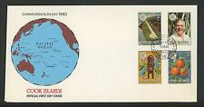 Postal History Cook Islands FDC #696-699 Commonwealth Day 1983
