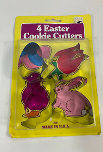 FOX RUN BRAND EASTER 4 COUNT SILVER METAL COOKIE CUTTERS - NEW IN PACKAGE