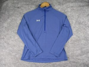 Under Armour Heat Gear Pullover Womens Small Blue 1/4 Zip Long Sleeve Loose Fit