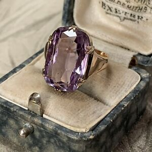 Antique 18ct Rose Gold Amethyst Ring, Large Art Deco Cocktail Ring UK L 1/2