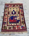5'x3' Feet Handmade Afghan War Art Rug Best Trible Military War Rug Wool rug