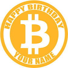 BITCOIN PERSONALISED EDIBLE ICING IMAGE BIRTHDAY PARTY CAKE TOPPER PRE-CUT
