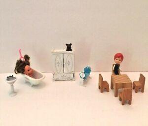The Littles Dollhouse Furniture 1980 Mattel Metal Tub Sink Armoire Crib Dolls ++