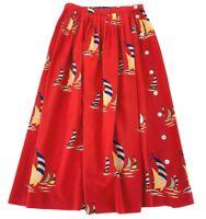 Ralph Lauren Women's Skirt Size 4 Red Nautical Vintage Buttons 100% Silk Midi