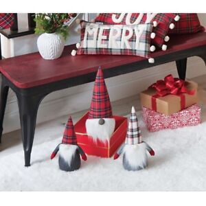 Mud Pie H0 Classic Christmas Weighted Plush Felt Tartan Gnome - 42600127 Choose