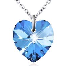 925 Sterling Silber aquamarin blau Kristall Herz Liebe Halskette Kette Anhänger