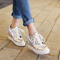 Fashion Women's Round Toe Hidden Wedge Heel Sneaker Solid Casual Shoes Lace up