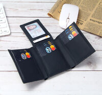 Genuine Leather RFID Blocking Wallet Men Trifold 14 Card Slots ID Card holders