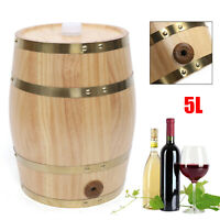 5 Litter Pine Wine Barrel Wooden Upright Barrel Beer Whiskey Spirits Storage Keg