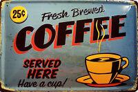 Coffee served here Blechschild Schild Blech Metall Metal Tin Sign 20 x 30 cm
