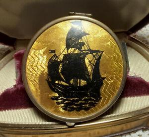 Antique Art Nouveau Guilloche Compact Signed Bright Gold with Black Ship Unique!