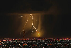 Framed Print - Brown Effect City Lightning Storm (Picture Thunderstorm Rain Art)