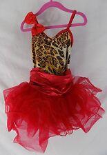 Weissman Red Animal Print Sequined Dance Costume Leotard Childrens MC 7042