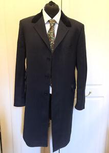 GINO BELLINO Mens Charcoal 100% Wool Velvet Collar Coat