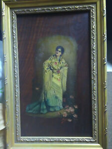 Antique Signed  Framed Oil Painting on Wood of Woman /Beautiful Shawl circa 1894