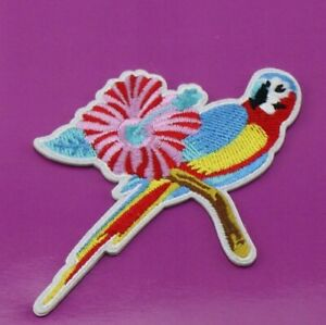 Colourful floral parrot Patch It single use embroidered small accessories patch