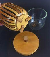Superbe seau à glaçe vintage en bambou et verre - pouvant servir de bonbonnière