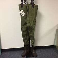 Pro Line Light Weight 3-Ply Stretch Nylon Waders With Rubber Boots Size 12