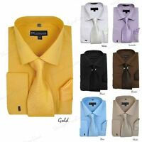 New Men's French Cuff Dress Shirt + Tie + Handkerchief Set Spread Collar SG27