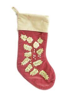 "Victorian Style Christmas Stocking Pink Mauve Cream Velvet Ribbon Embroidery 18"""