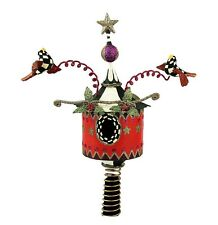 MACKENZIE CHILDS BOBBLE BIRD CHRISTMAS TREE TOPPER ORNAMENT COURTLY CHECK NEW