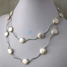 """35"""" 13-14mm White Coin Freshwater Pearl Necklace Tube W UK"""