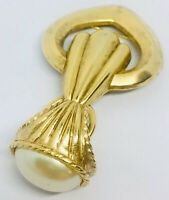 Chatelaine Brooch Faux Pearl Dangling Gold Tone Vintage Jewelry