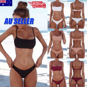 Women 2pcs Bikini Bandeau Bandage Set Brazilian Swimwear Beachwear  Swimsuit