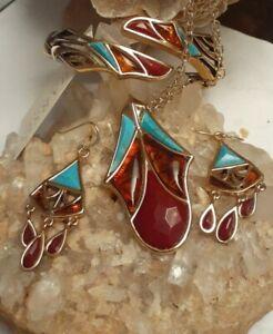 Studio Barse Bronze Amber Turquoise Quartz Bracelet Necklace Pendant Earring Set