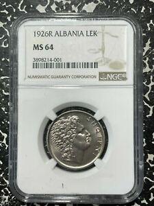 1926-R Albania 1 Lek NGC MS64 Lot#G423a Choice UNC!
