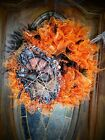 Wreath Scary Orange Black Halloween Spider Vintage Wreath Spooky Fun