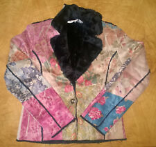 Soft Faux Suede Floral Pattern Tailored Fit Women's Coat - Size Small