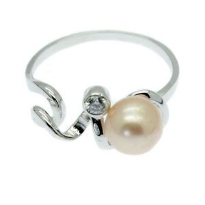 Pink Cultured Pearl Ring with Faux Diamond Solitaire Sterling Silver Size N O Q