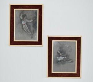 Ballet Study Pastels x 2 - Renowned Ballet Artist Trevor H. Clare -1954