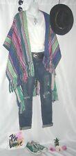 America & Beyond Poncho Blanket Southwestern Bohemian Shawl Wrap Cardi Duster M