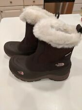 THE NORTH FACE Girls Brown Faux Fur Greenland Zip Winter Snow Boots Girls Sz 5
