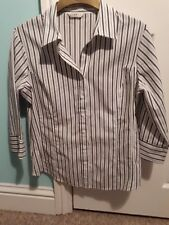 George Ladies  Crisp Navy/ White Stripe Smart Fitted Blouse Size 18 Polycotton