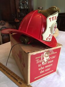 Vintage Texaco Fire Chief Hat Helmet With BOX - by Original Owner NO RESERVE