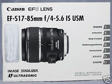 GENUINE CANON EF-S 17-85mm f4~5.6 IS USM LENS INSTRUCTION MANUAL! GOOD CONDITION