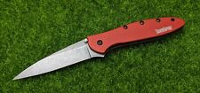 "Kershaw Leek, Drop Point, Plain 3"" Blade, Folding Pocket Knife, Red - 1660RDBW"