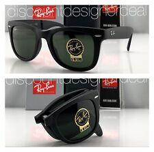 Ray-Ban RB4105 Folding Wayfarer Sunglasses 601S MATTE Black Green G-15 Lens 50