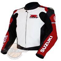 Moto Leder Bikerjacke Suzuki 1078 fahren rot Motorrad Kleidung