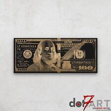 "48""X20"" Stylized Hundred Dollar Bill - USD $100 Gold on Black Open Edition Print"