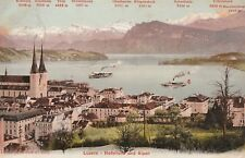 VINTAGE COLOUR POSTCARD -   LUZERN - SWITZERLAND - NAMED PEAKS IN THE ALPS
