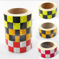 NEW 50MM X 10M High Intensity Reflective Chequer Checkered Tape Vinyl Roll UK