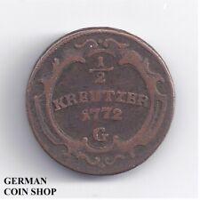 1/2 Kreuzer 1772 G Günzburg Burgau - Maria Theresia - RDR Österreich Austria