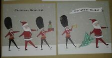 2 Mini cartoon Christmas Cards, Santa with marching soldiers in Bearskin hats UK