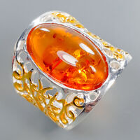 Amber Ring Silver 925 Sterling Vintage Jewelry Size 8.5 /R134617