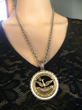 """FRENCH KANDE  SILVER CHAIN MEDALLION  CRYSTAL PENDANT  NECKLACE   22"""" LONG"""